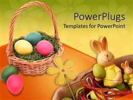 PowerPlugs: PowerPoint template with a brown basket filled with colorful ester eggs and an ester bunny