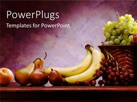 PowerPoint template displaying brown basket filled with grapes and other fruits beside it