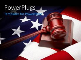 PowerPlugs: PowerPoint template with a brown colored gavel on a large USA flag