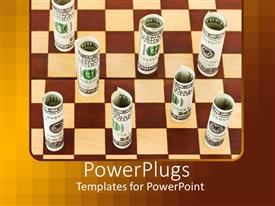 PowerPoint template displaying brown and cream colored chess board wit rolled up dollar notes as chess pieces