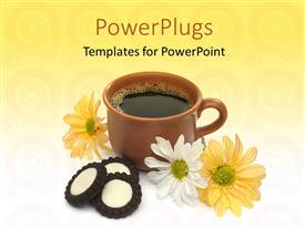 PowerPoint template displaying brown cup of coffee with beautiful flowers on abstract background
