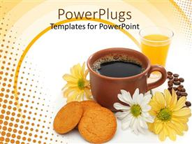 PowerPoint template displaying a brown cup of coffee beside some biscuits and flowers