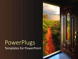 PowerPlugs: PowerPoint template with brown door open to a dirt path with grass