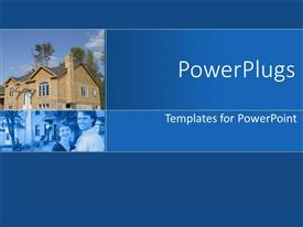 PowerPlugs: PowerPoint template with brown modern house and smiling couple in blue background