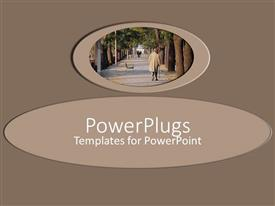 PowerPlugs: PowerPoint template with brown plain background with a man walking down a park
