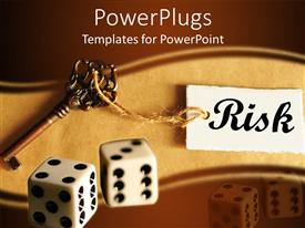 PowerPoint template displaying brown risk management with key and dice, business