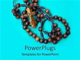 PowerPlugs: PowerPoint template with a brown rosary with a cross on a blue background