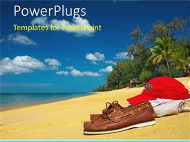 PowerPoint template displaying brown shoes, red cap over bright clothing on a sandy beach with palm tree and trees, ocean water and blue sky