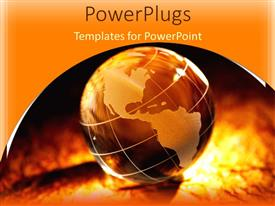 PowerPlugs: PowerPoint template with brown and tan globe, golden background
