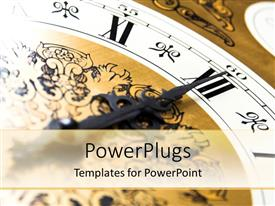 PowerPlugs: PowerPoint template with brown and white color clock showing the time - 12 0' clock