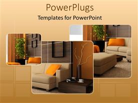PowerPoint template displaying brown wood interior design of a beautiful living room