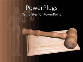 PowerPlugs: PowerPoint template with brown wooden judge gavel on wooden surface in black background