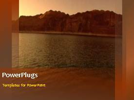 PowerPlugs: PowerPoint template with a brownish background with a sea