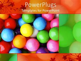 PowerPlugs: PowerPoint template with bubble gum candy of several colors on display