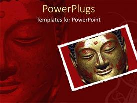 PowerPoint template displaying the Buddha statue with its reflection in the background