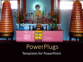 PowerPoint template displaying a Buddha temple with lots of flowers and lights