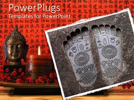 PowerPoint template displaying a Buddhist sculpture with candle in the background