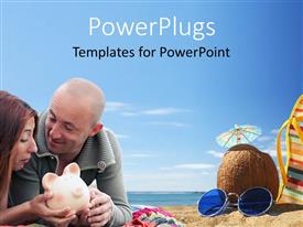 PowerPlugs: PowerPoint template with a couple with sea in the background