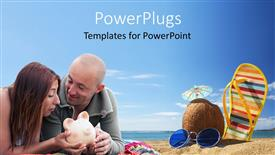 PowerPoint template displaying a couple with sea in the background