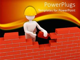 PowerPlugs: PowerPoint template with builder is building wall with bricks. a 3D depiction