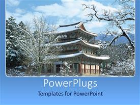 PowerPlugs: PowerPoint template with a building in the background with a number of trees showing winter scene