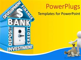 PowerPlugs: PowerPoint template with building of bank with keywords and the safe, humanoid with dollars and bag of money in front