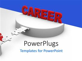 PowerPlugs: PowerPoint template with 3D man crossing jigsaw bridge to CAREER on platform