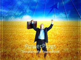 PowerPlugs: PowerPoint template with a buisness man with a bag in the crops