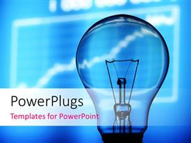 PowerPlugs: PowerPoint template with a bulb with bluish background and a graph