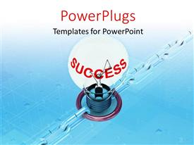 PowerPlugs: PowerPoint template with a bulb with a bluish background and place for text
