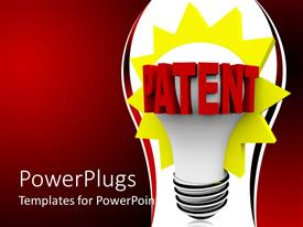 PowerPoint template displaying a bulb glowing with reddish internet and place for text