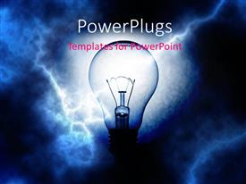 PowerPoint template displaying a bulb with lightning in the background