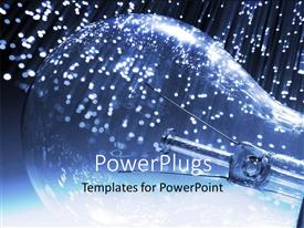 PowerPlugs: PowerPoint template with a bulb with lots of fiber lights at the background
