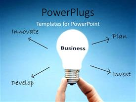 PowerPlugs: PowerPoint template with a bulb with a number of arrows and bluish background