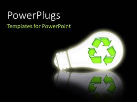 PowerPlugs: PowerPoint template with a bulb with the recycle sign and blackish background