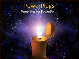 PowerPlugs: PowerPoint template with a bulb in the space with galaxies in background