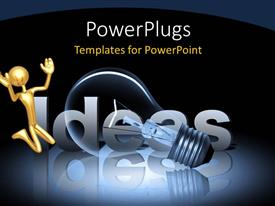 PowerPoint template displaying a bulb with the word ideas behind it and place for text