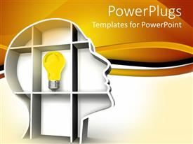PowerPlugs: PowerPoint template with a bulb with yellowish background and place for text