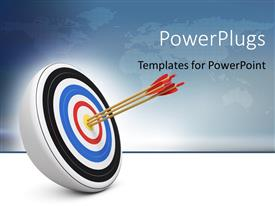 PowerPlugs: PowerPoint template with bull-eye three archery arrows hit right on target center