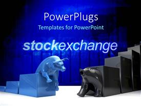 PowerPlugs: PowerPoint template with bulls and bear the symbols of stock exchange with bluish background