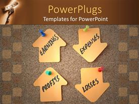 PowerPlugs: PowerPoint template with a bunch of arrows representing various business terms with wooden background