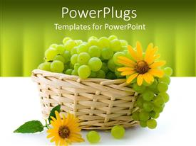 PowerPoint template displaying a bunch of grapes in the basket along with sunflowers