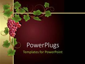 PowerPlugs: PowerPoint template with a bunch of grapes with maroon background