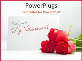 PowerPlugs: PowerPoint template with a bunch of red roses beside a valentine card