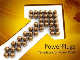 PowerPlugs: PowerPoint template with bunch of reflective gold spheres arranged in upward pointing arrow on white background