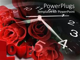 Design enhanced with a bunch of roses and a clock background spelling out the text