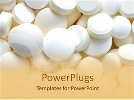 PowerPlugs: PowerPoint template with bunch of white pills, medication, pharmaceuticals,