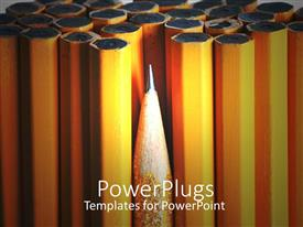 PowerPlugs: PowerPoint template with bunch of yellow pencils with a sharpened one in front