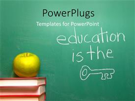 PowerPlugs: PowerPoint template with a bundle of books with an apple on top of them