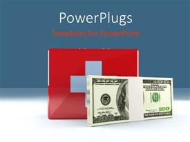 PowerPoint template displaying a bundle of dollars with a medical sign in background